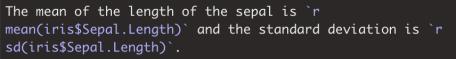 Inline code in R Markdown