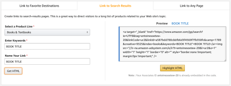 Step 3 to 7: Create Amazon affiliate link for a search page