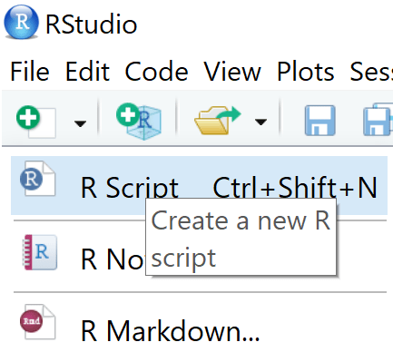 New R script in RStudio