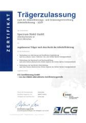 Zertifikat über die Trägerzulassung nach der Akkreditierungs- und Zulassungsverordnung Arbeitsförderung - AZAV