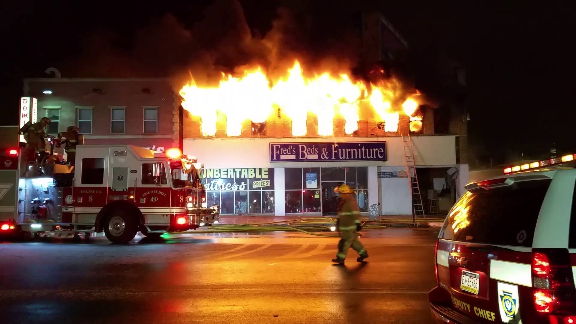 Raw Video From Furniture Store Fire In Erie PA Statter911