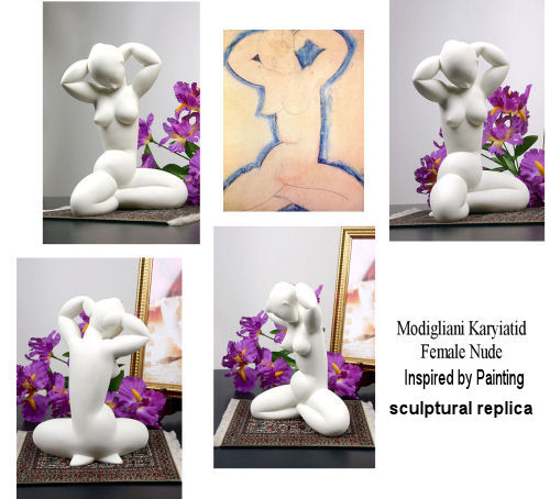 Karyiatid Female Nude Statue Inspired by Modigliani