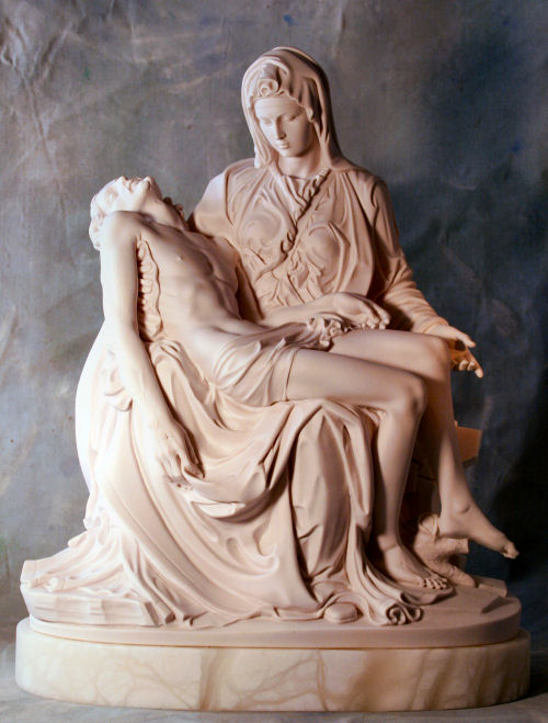 Pieta By Michelangelo Sculpture Marble 18.5