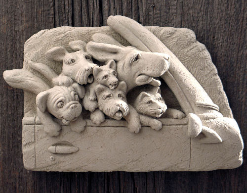 Dogs In A Car, On A Road trip Wall Plaque Sculpture