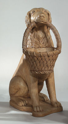 Retriever Right With Basket Planter Statue