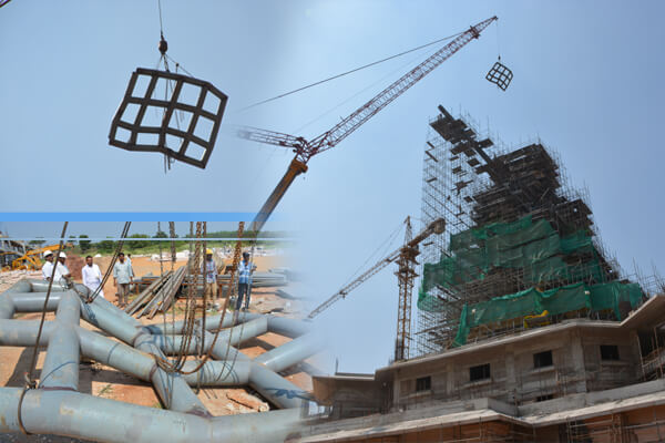 Magnificent Event - Jala Pavitram installed at the top edge of the 'Tridandam' at 135 feet high