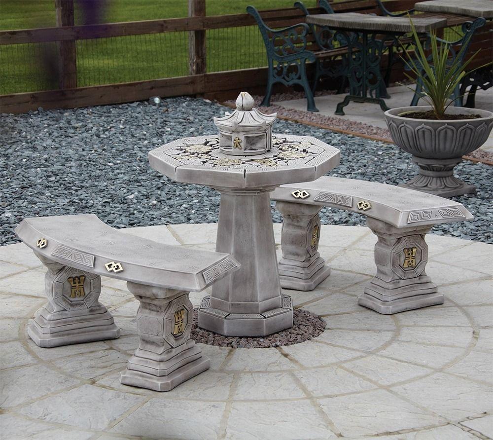 japanese stone benches table patio set garden furniture