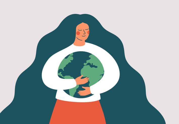 woman hugging the earth