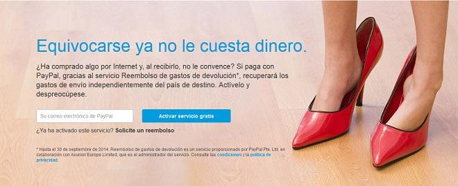 Gastos de devolución gratis con PayPal