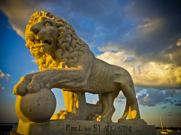 Cloudy Bridge of Lions Statue