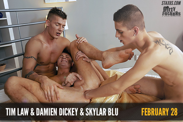 Tim Law, Damien Dickey and Skylar Blu share their cocks in a kinky threesome fuck