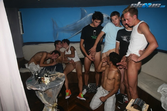A gang of boys all wanking and sucking to some hot cum loads! (1)