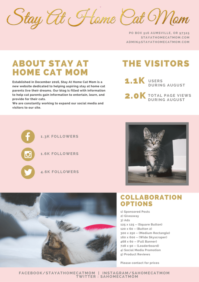 Stay At Home Cat Mom's Sept 1 Media Kit