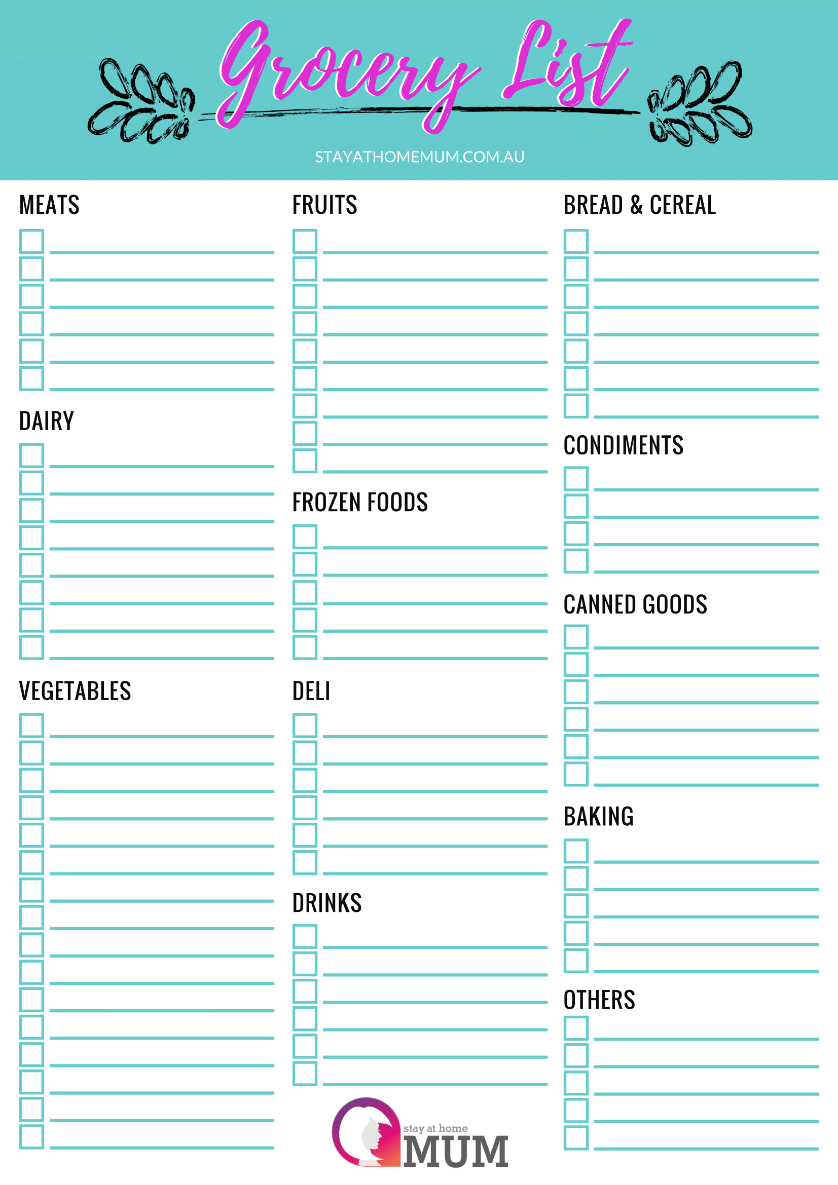 Customisable Grocery Shopping List