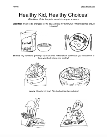 Fun coloring page used to encourage kids to make healthy choices!