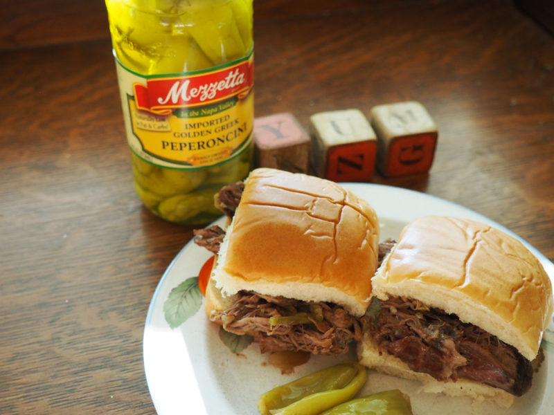 slow cooker beef peperoncini sliders: I put this on before I went to bed and my house smelled wonderful when I woke up!! I shredded the meat to put them on sliders. This was a childhood favorite and a big hit with my family! | Stay gold Autumn
