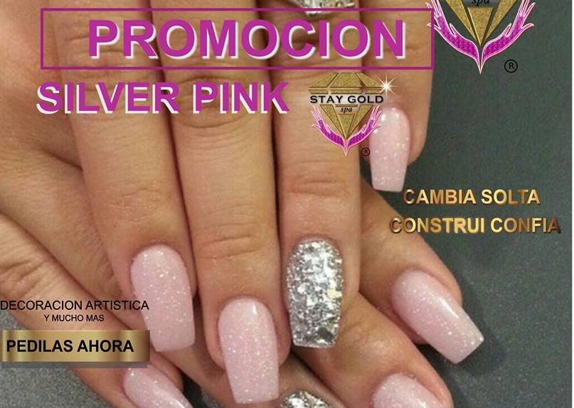 Silver Glitter Pink Nails Uñas Decoradas