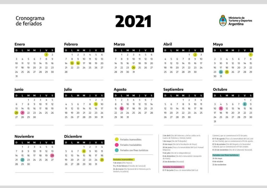 Almanaque Feriados 2021 Argentina