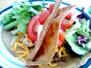 hamburger and chicken tacos