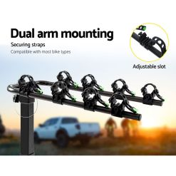 Tow Bar Bike Rack 4 Bicycle Carrier Mount Dual Arm Mounting