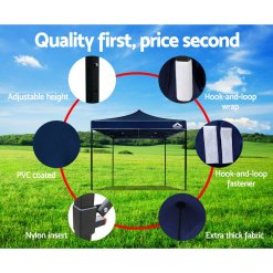 Outdoor Gazebo Instahut 3x3 Pop Up Marquee Navy Quality Features