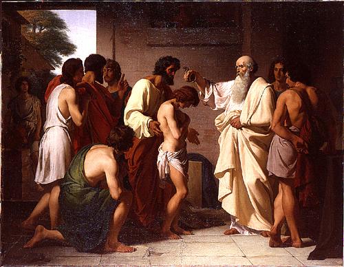 Samuel Anoints David, François Victor Eloi Biennourry, 1841, École nationale supérieure des Beaux-Arts.
