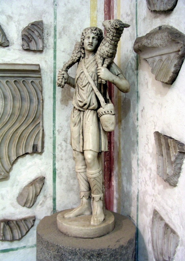 The Good Shepherd, c. 300–350, at the Catacombs of Domitilla, Rome