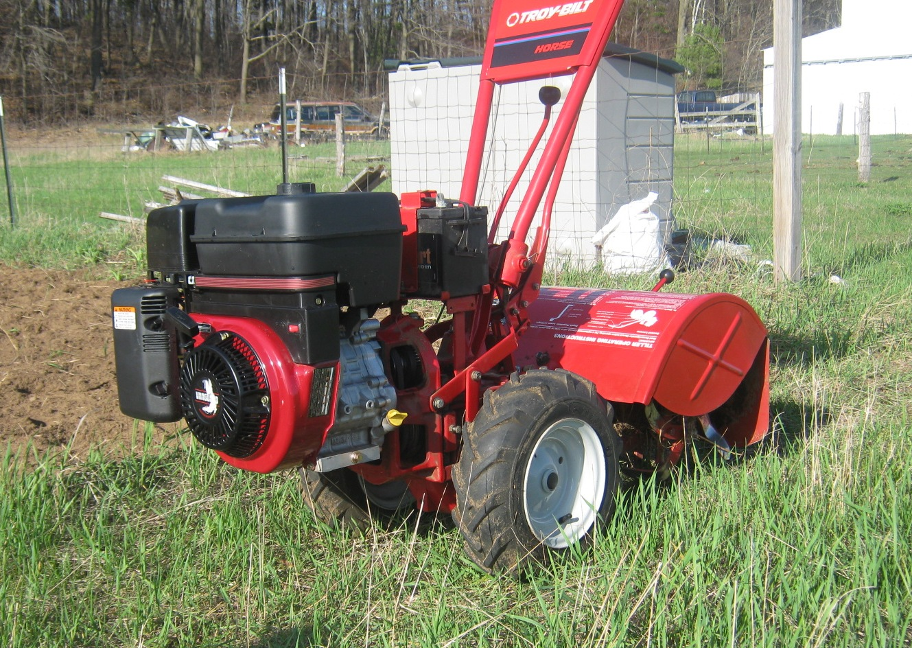11hp briggs stratton vanguard on a troy bilt tiller st clare our troy bilt horse tiller with the new 11hp briggs stratton vanguard engine sitting ready and rearin to go by one of our numerous test gardens sciox Image collections