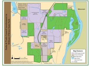"""A map showing Parks & Trails land acquisitions in William O'Brien State Park, including the recent """"Grant"""" property"""