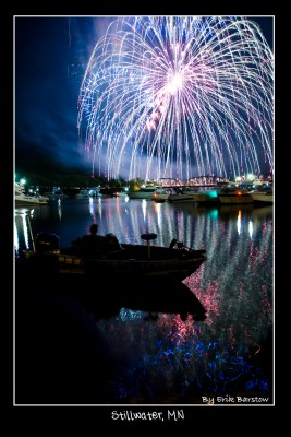 Stillwater Fourth of July fireworks, photo by Erik Barstow