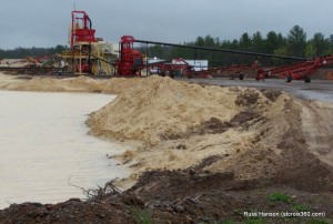 Frac sand mine in Grantsburg, WI near the St. Croix River