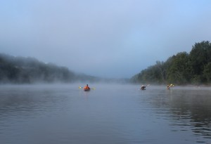Kayaking through the fog on the St. Croix River