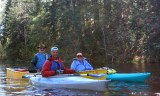 Jim Fitzpatrick, Bill Cook, and Mary Paul on the 2013 Namekagon paddle.