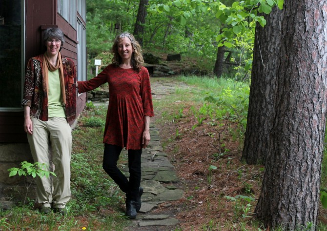 Susan Armington (right) and Bonnie Ploger (left) at Pine Needles cabin.