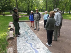 A National Park Service ranger talks about the geology of the St. Croix at Wisconsin Interstate Park recently.
