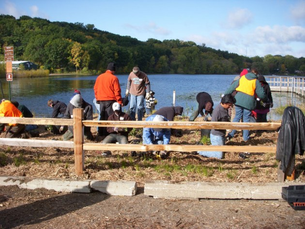 Restoration work at the Lily Lake boat launch (Photo via Middle St. Croix WMO)