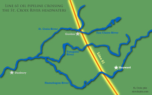 Line 61 tar sands oil pipeline crossing the St. Croix River headwaters map