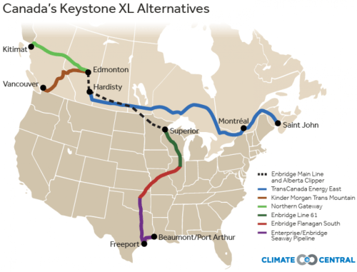Map of Canada's pipeline network
