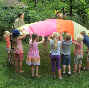 Preschoolers and their adults explore the park through hands-on activities. (MN DNR photo)