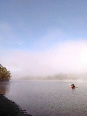 Foggy paddling (Photo courtesy Andrew Carlson, Riverwood Canoe)