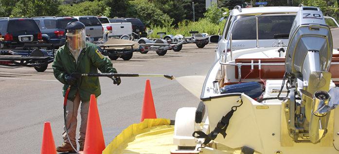 Boat decontamination unit in action.