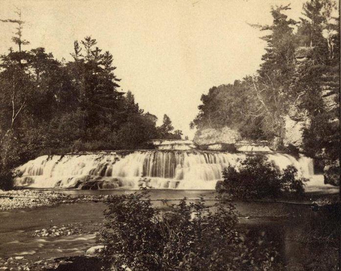 Kinnickinnic River falls before 1890 (Wisconsin Historical Society)