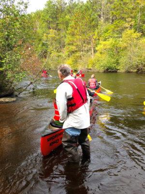 Peterson launches kids on a canoe trip down the Namekagon River. (Heidi Parton)