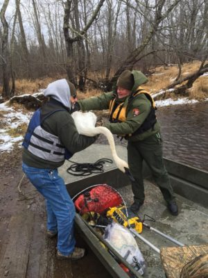 Jeff Butler (left) and a National Park Service ranger transfer Muskie from the boat to land. (All photos courtesy Jeff Butler)