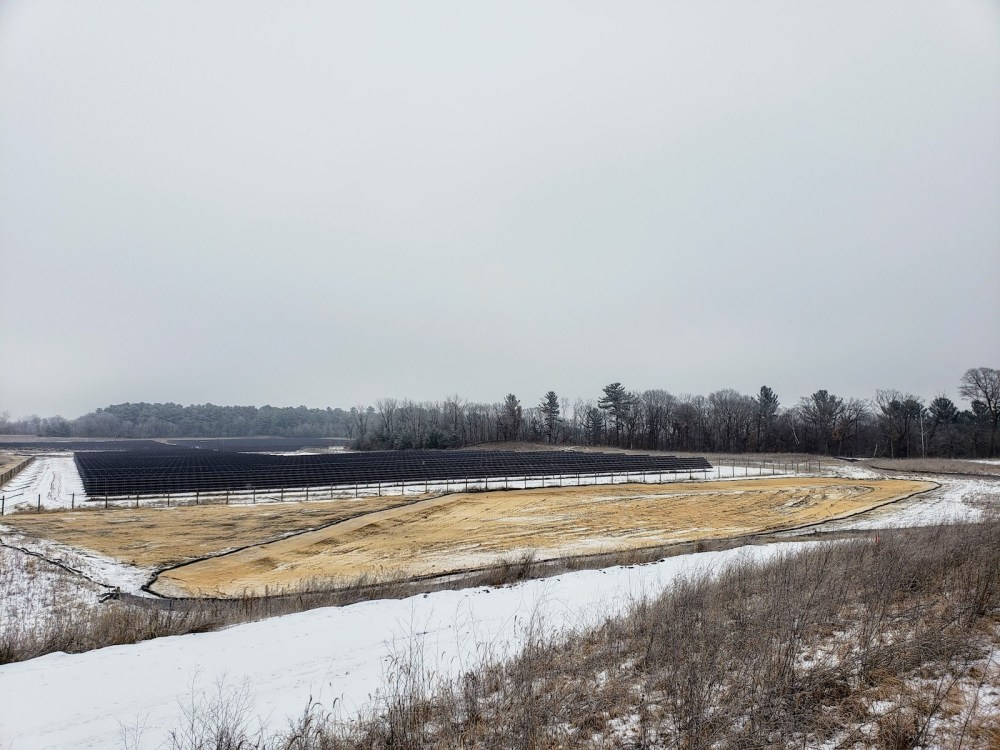 Stormwater pond dredging evident on Dec. 10, 2018 (Greg Seitz, St. Croix 360)
