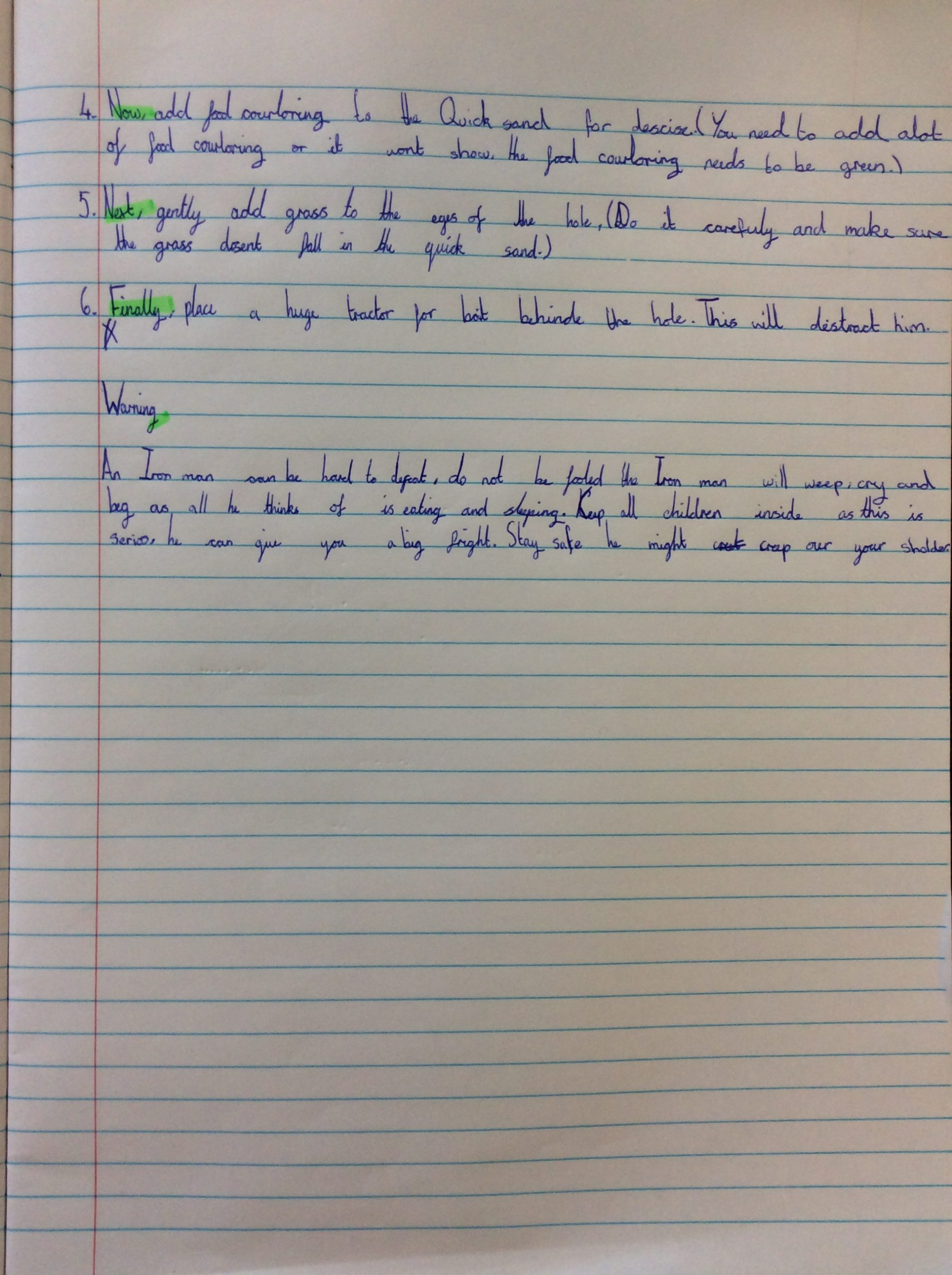 Year 4 have been writing instructions.