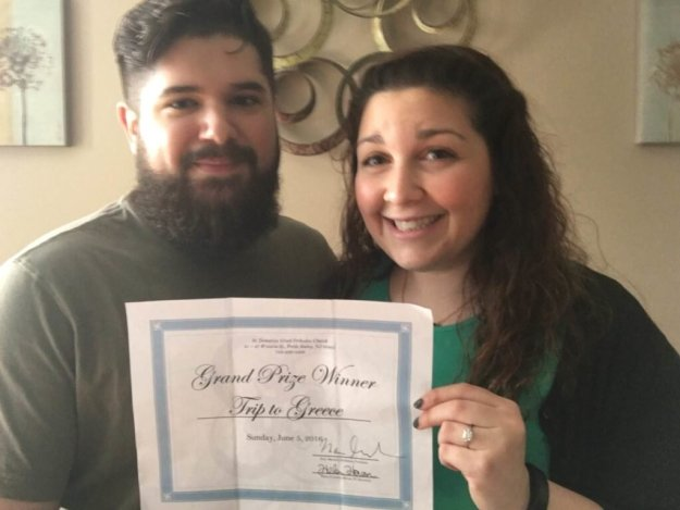 """The Grand Prize Winner, Brian Garcia, of Perth Amboy, and his fiancé, Domenique Katsaros, show their joy and excitement as they begin planning their """"dream trip"""" to Greece."""
