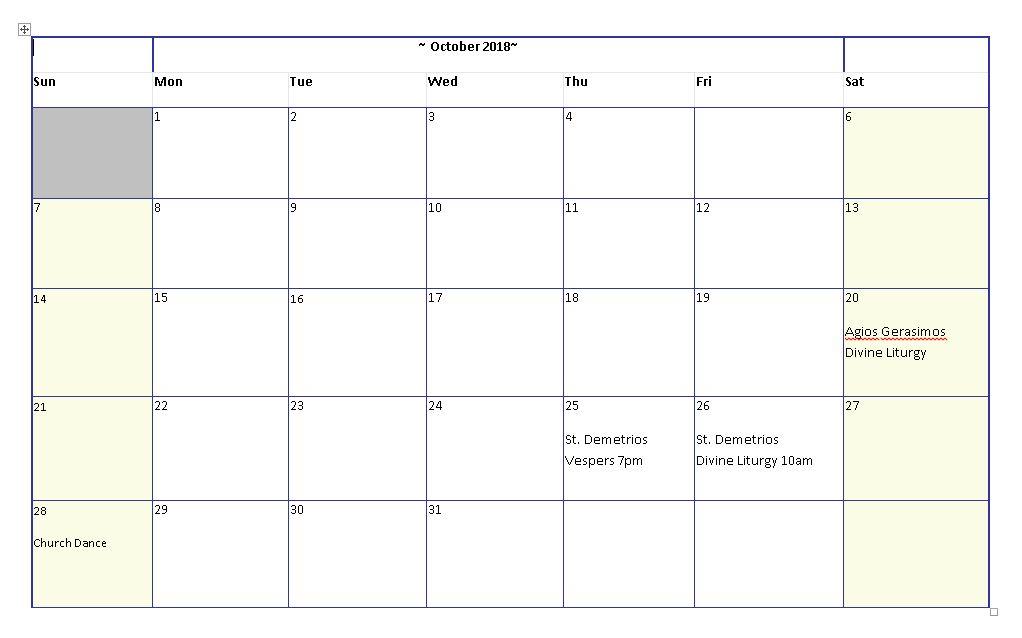Greek Orthodox Calendar.October 2018 Calendar St Demetrios Greek Orthodox Church Perth