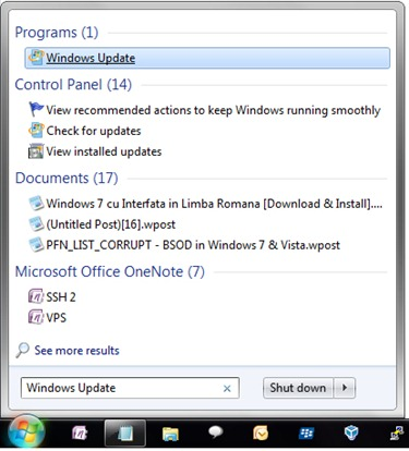 Open Windows 7 Update Center
