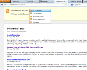RSS feed in Firefox